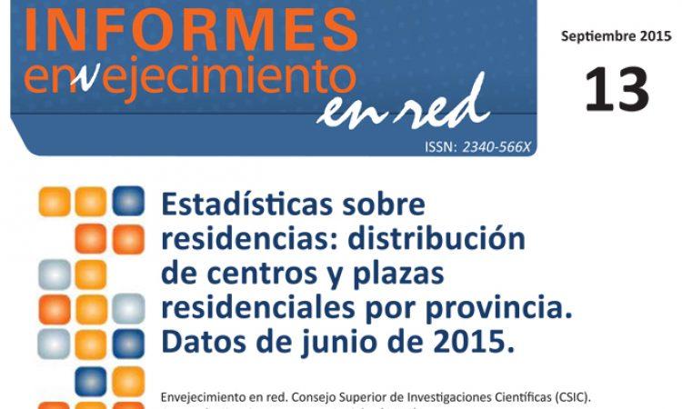 Estadísticas sobre residencias: distribución de centros y plazas residenciales por provincia. Datos de junio de 2015