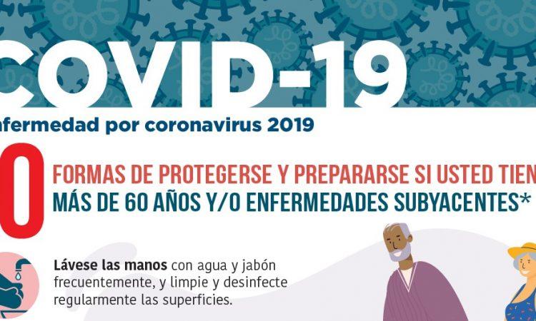 Formas de protegerse y prepararse si usted tiene más de 60 años y/o enfermedades subyacentes durante la COVID-19